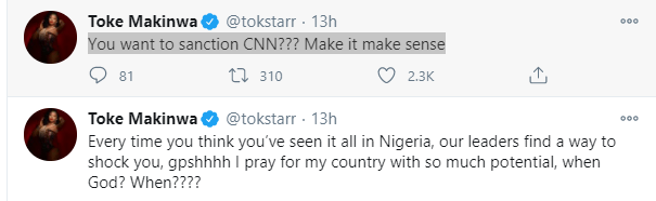 Our leaders find a way to shock you - Toke Makinwa reacts to Lai Mohammed's call for CNN to be sanctioned lindaikejisblog 1