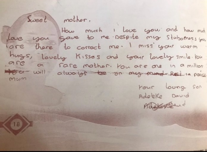 Davido shares letter he wrote to his late mum 1