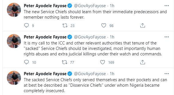 Fayose seeks probe of sacked Service Chiefs lindaikejisblog 1