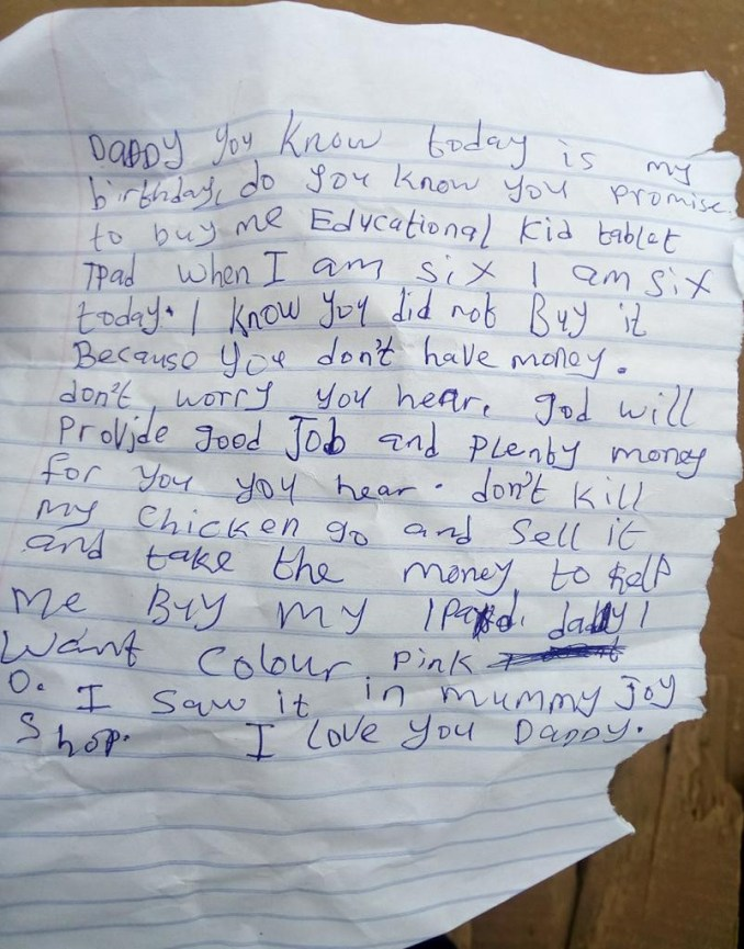 Nigerian man shares touching note his 6-year-old daughter left for him before leaving for school lindaikejisblog 1