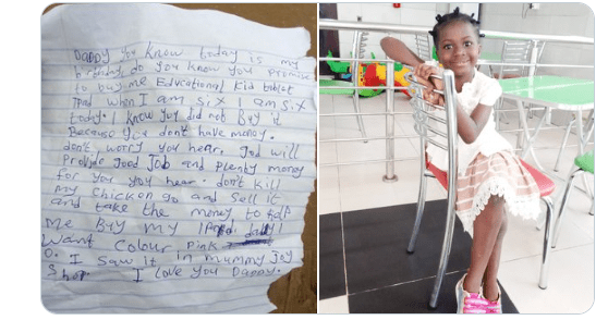 Nigerian man shares touching note his 6-year-old daughter left for him before leaving for school lindaikejisblog