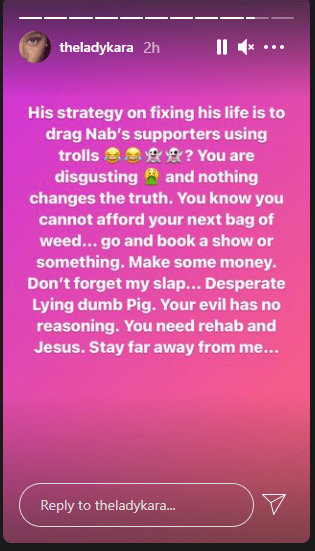 His strategy of fixing his life is to drag his wife, Nabila's supporters with trolls - Oritsefemi's former manager, Kara fires back at him  11