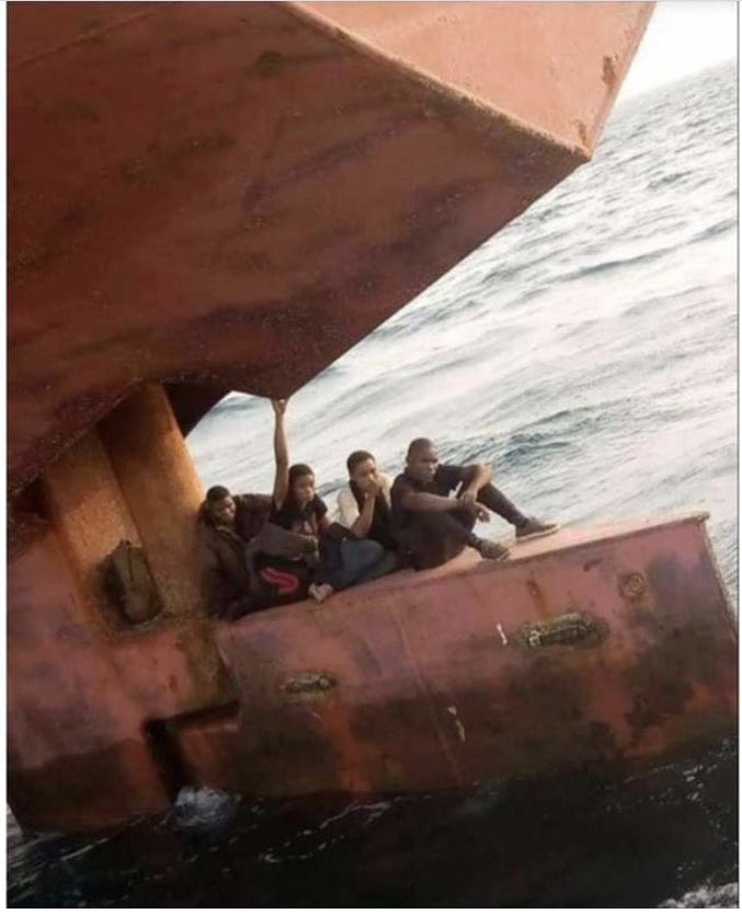 Lagos anchorage officials nab stowaways hiding at rudder of a ship heading for Spain 2