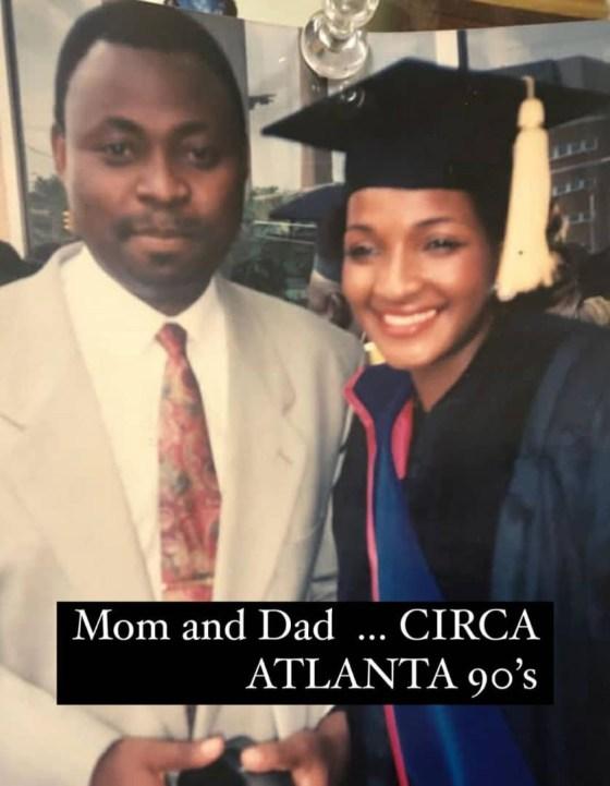 Davido shares throwback photo of his mum and dad