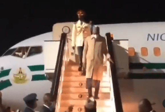 President Buhari arrives London, UK, for his routine medical checkup (video)