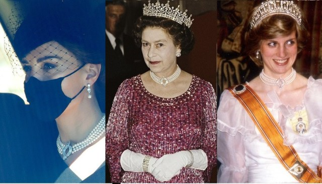 Kate Middleton wears a diamond and pearl necklace the Queen once loaned to Princess Diana for Prince Philip's funeral