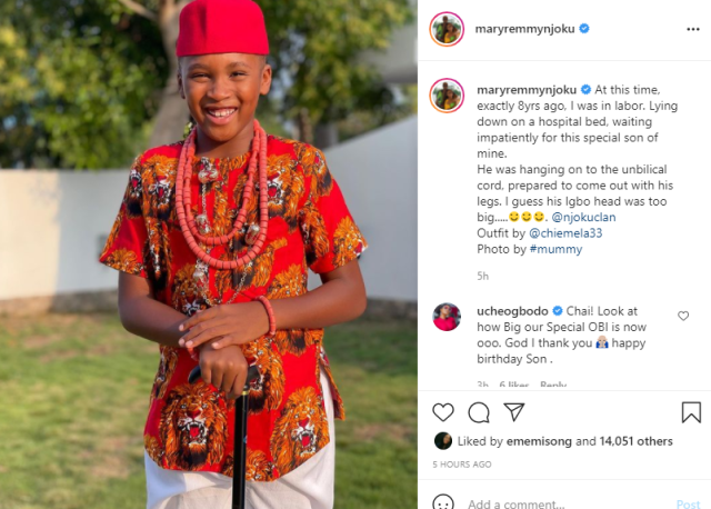 Actress Mary Remmy Njoku shares her son's birth story as he turns 8 1
