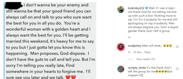 Such a stupid gender, thank God I left the group - Bobrisky reacts to message a man sent his girlfriend after announcing his marriage to another woman 1
