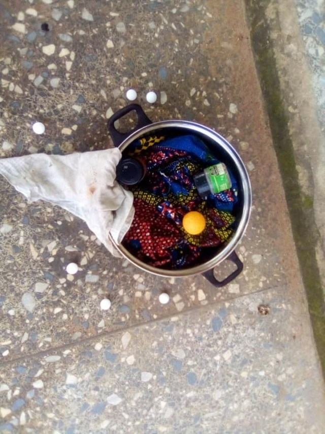 Student allegedly leaves 'sacrifice' in front of a staffs office in Michael Okpara University, Abia State 2