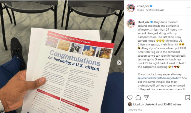 Instagram comedian Chief Obi becomes a US Citizen