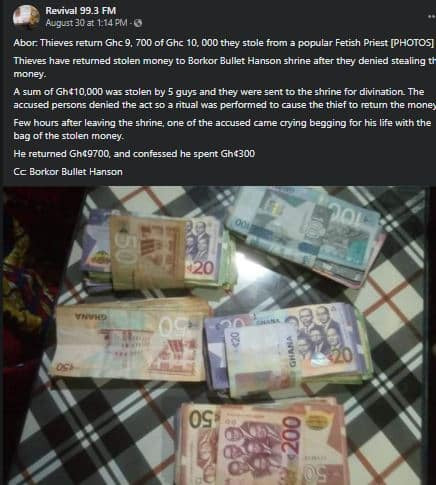 Thieves return money they stole after their victim reported the incident to a native doctor  1