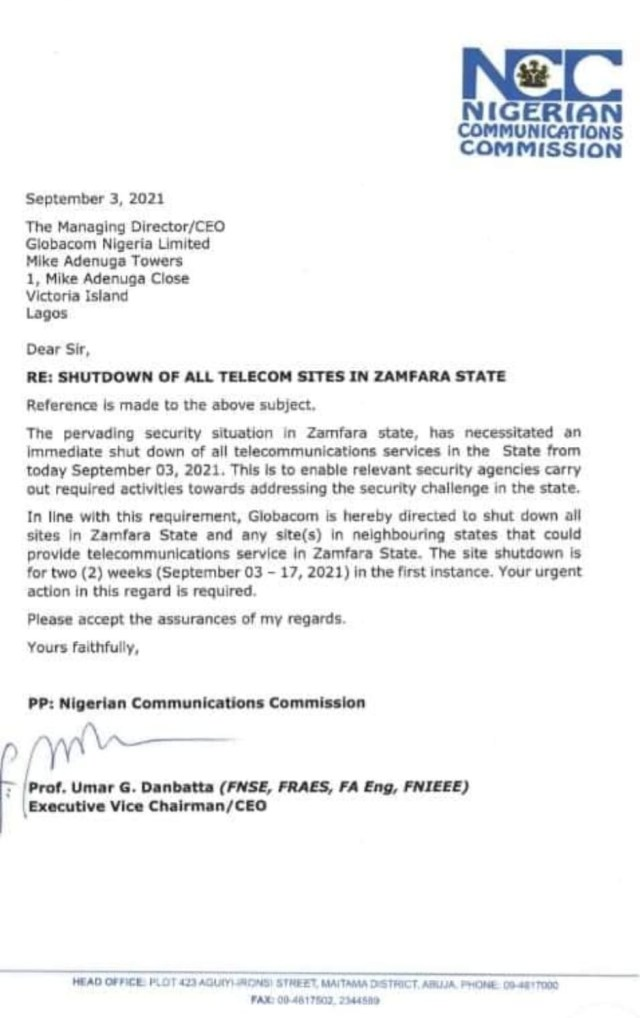 NCC asks telecommunication companies to suspend services in Zamfara over insecurity  1