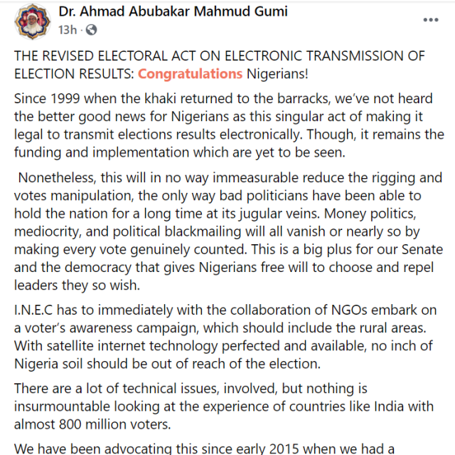 E-transmission of election result will stop money politics, mediocrity, and political blackmailing - Sheik Gumi  1