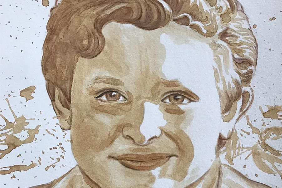 portrait painted in coffee