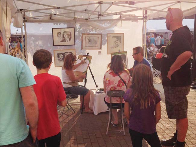 caricature drawing at Elvis Festival in Collingwood
