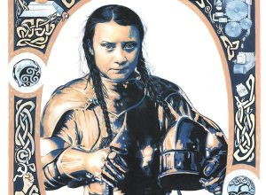 Greta Thunberg thumbnail of original portrait, including caricature and celtic designs