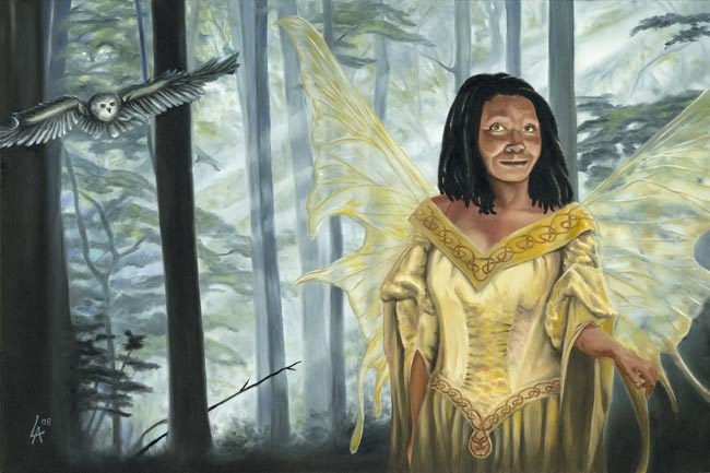 """Original acrylic painting of a fairy receiving a message from an owl on 18"""" x 24"""" gallery canvas"""