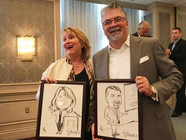 caricatures as gifts for speakers at a conference