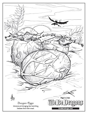 Free Colouring Page of hatching dragon
