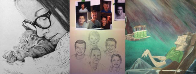 Oil and acrylic painted and pencil drawn portraits