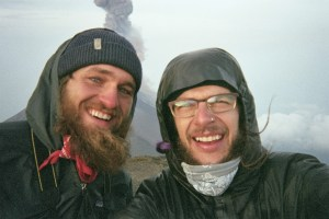 Day before James left Guatemala. Summit of Acatenango, 13,005 ft, with the Volcan de Fuego erupting behind us.