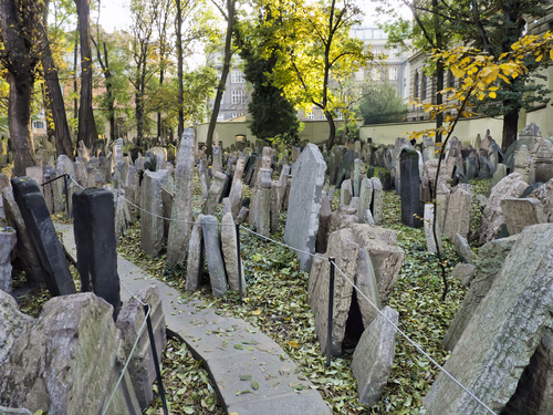 Headstones in Jewish cemetery, Prague