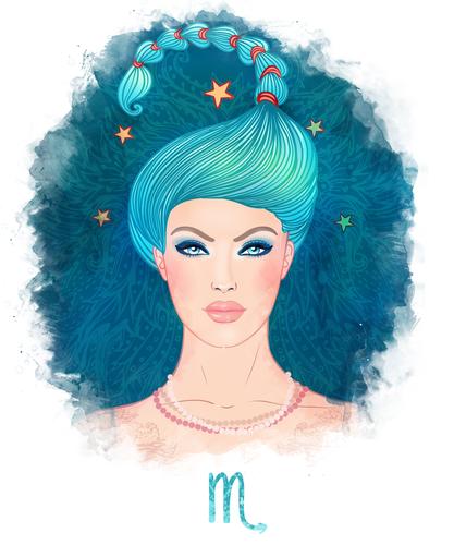 Scorpio zodiac sign as a beautiful girl