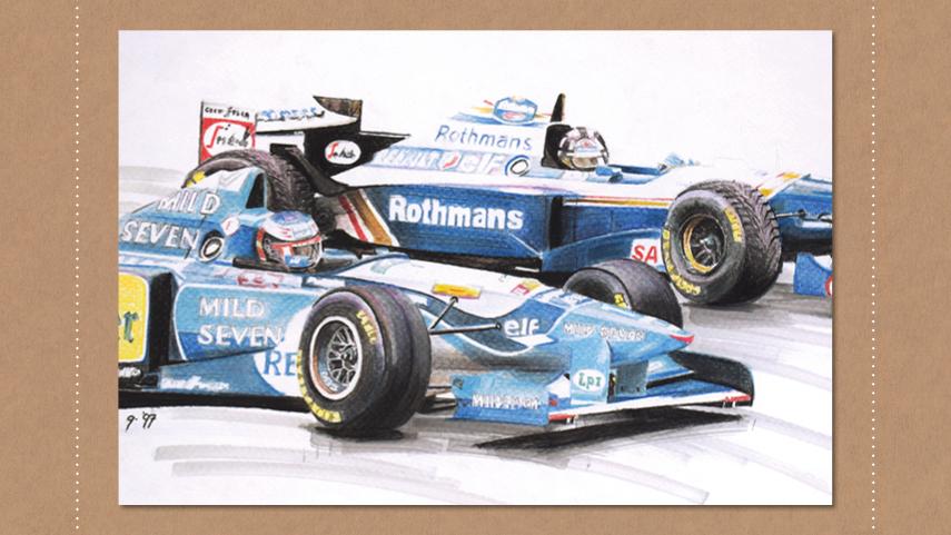 Tekening Hill Alesi Formule1