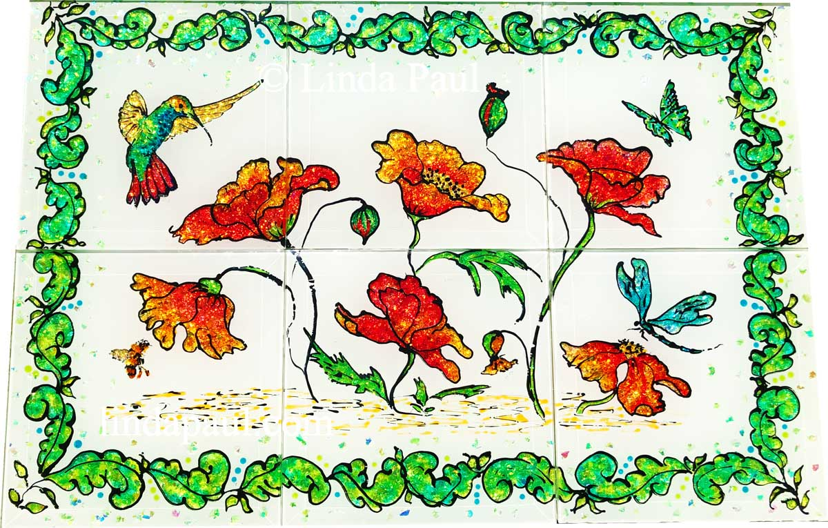 hand painted tiles of poppies hummingbird dragonfly glass tiles