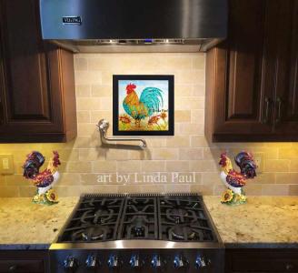 Rooster Hand Painted Glass Tile Backsplash