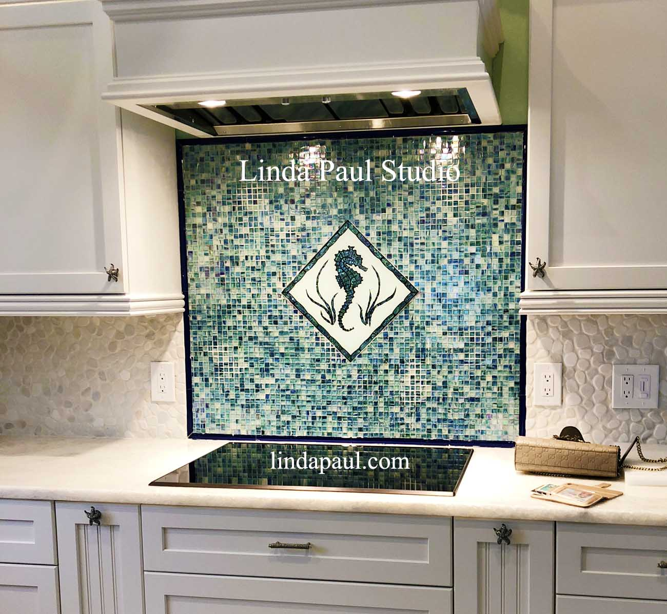seahorse handmade mother of pearl blue paua shell tile and glass mosaic