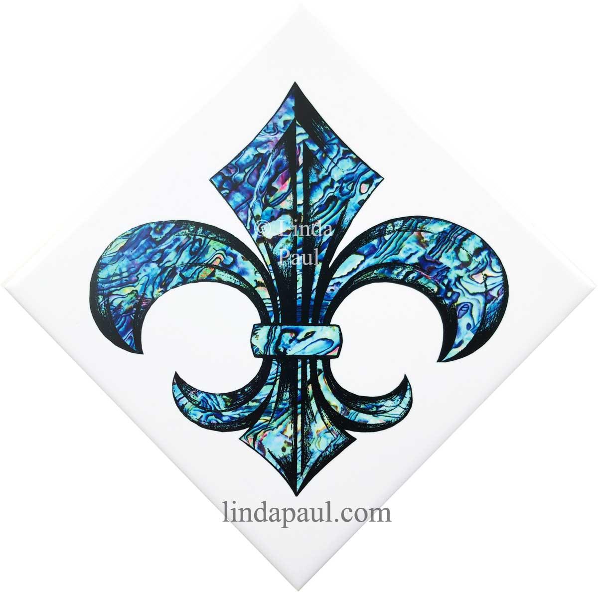 fleur de lis blue shell ceramic tile by artist linda paul