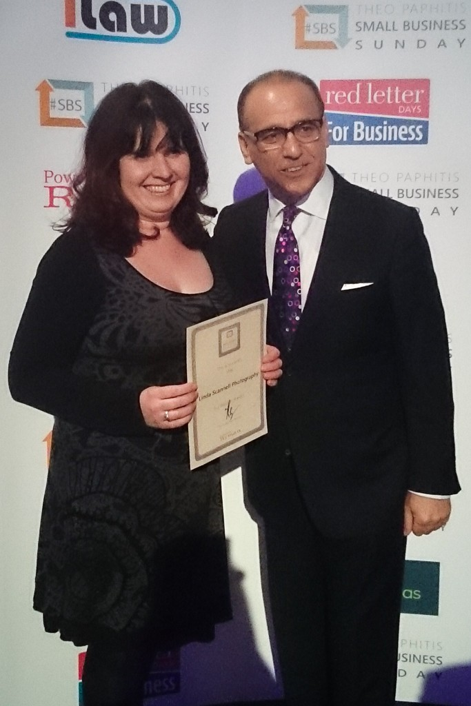 Linda Scannell accepts SBS winners certificate from Theo Paphitis