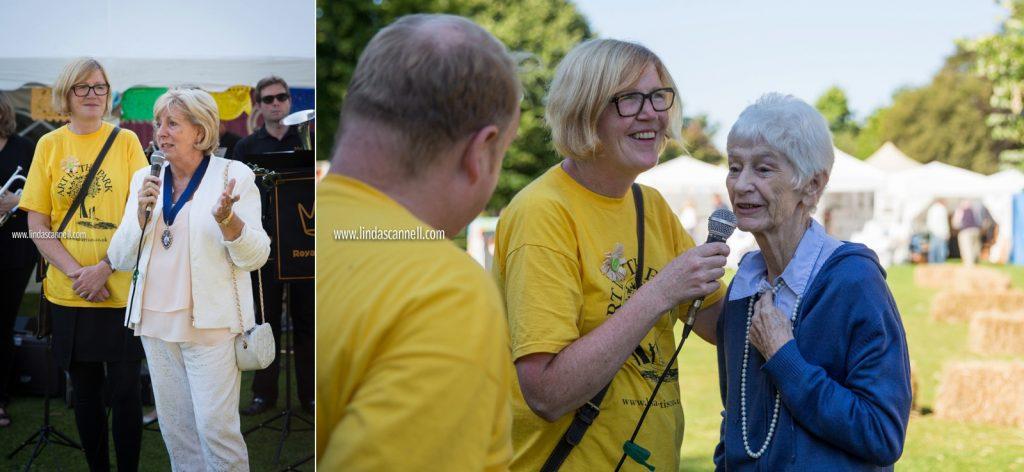 Organiser Carole Sleight, deputy mayor of Leamington Spa, Cllr Caroline Evetts, and festival founder Mo Finnesey opening Art in the Park 2016
