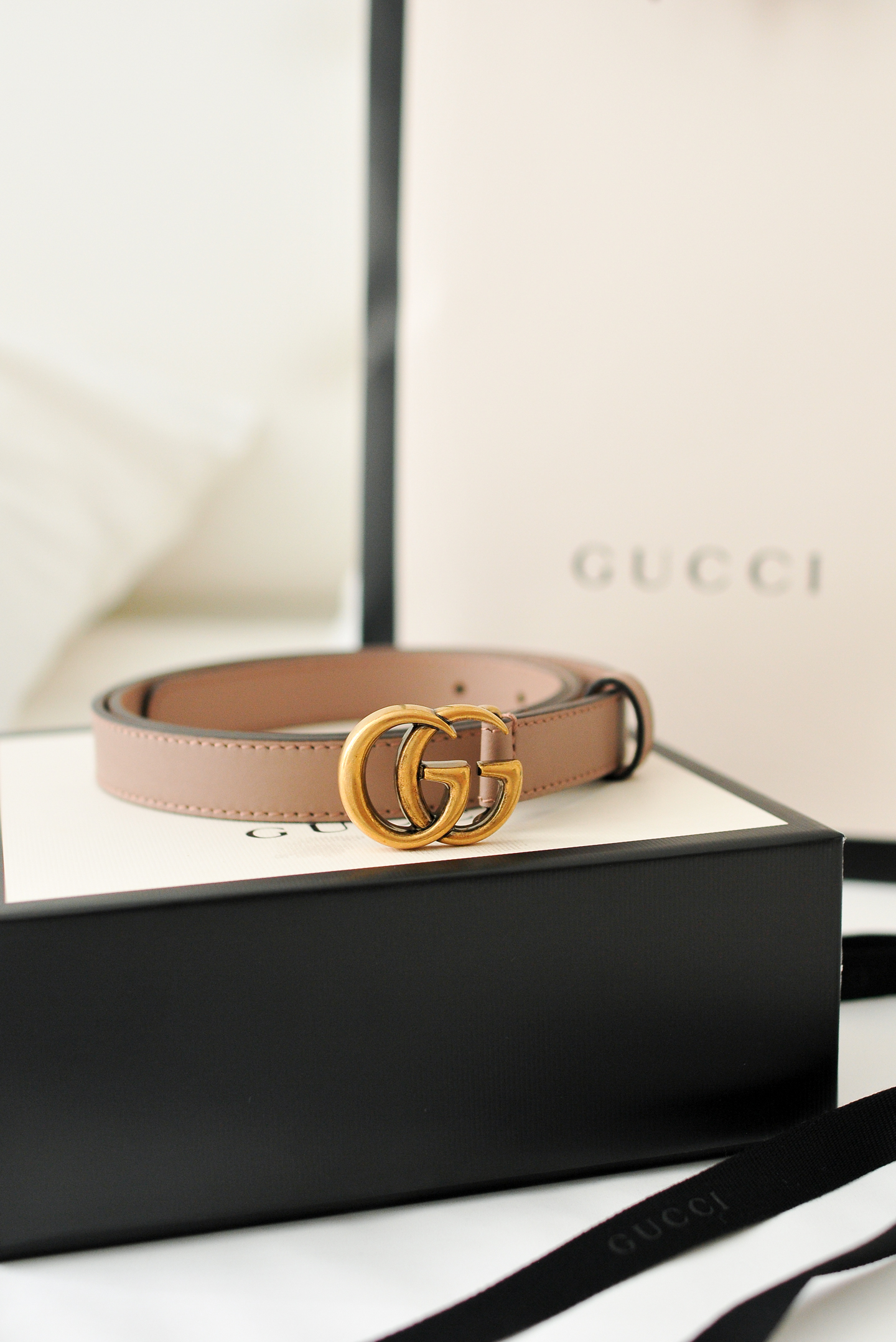 Gucci marmont belt pink leather Double G buckle small gucci belt