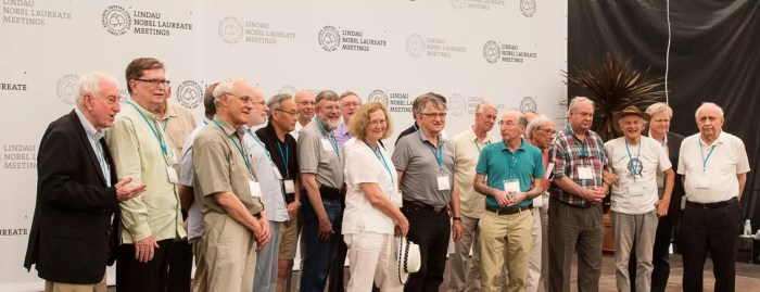 Some of the signatories of the Mainau Declaration 2015 on Climate Change on stage just after the signing. Image: Ch. Flemming/Lindau Nobel Laureate Meetings.