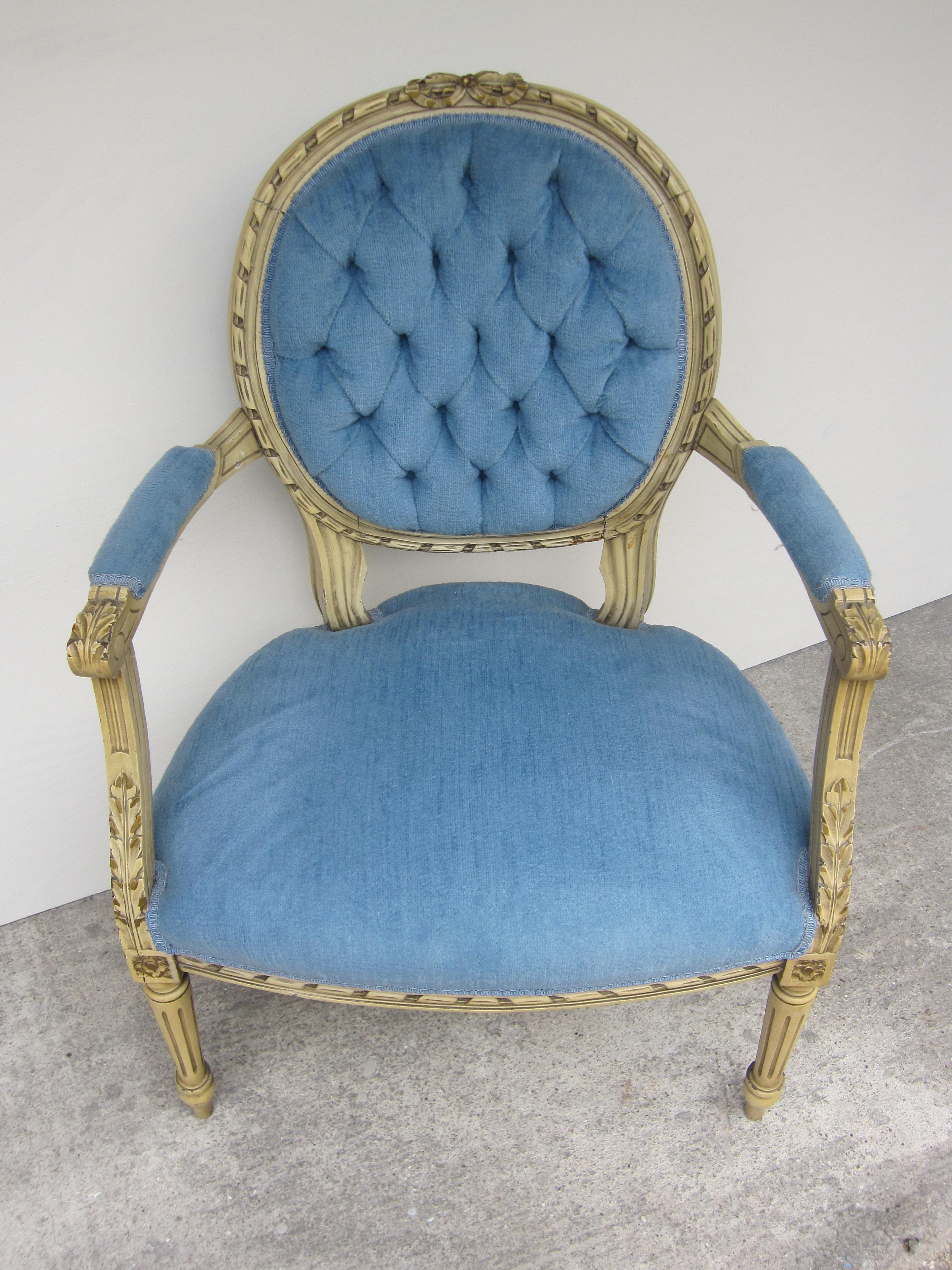 Antique Blue French Chairs Houston Furniture Refinishing