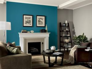 Teal fireplace accent wall is true focal point