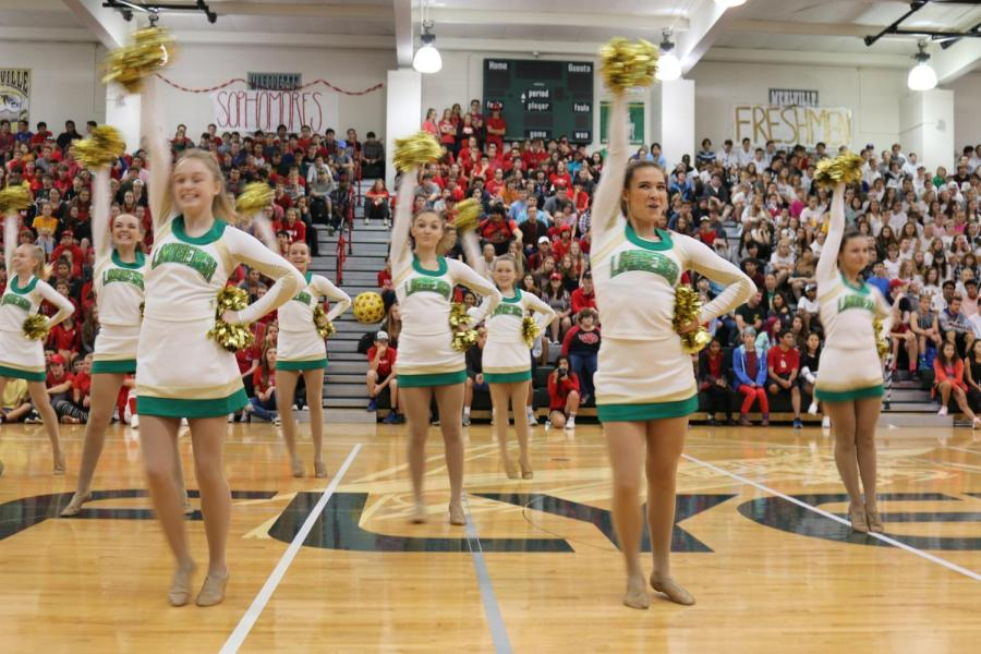 Flyerettes+perform+for+one+of+the+first+times+of+the+year+at+the+2017+Pep+Assembly+led+by+captain+Maria+Wasenius+%2812%29.