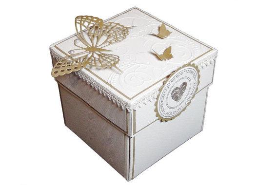 Wedding Exploding Box Gold Invitation Birthday