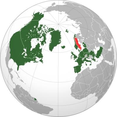 Natos utbredning. Nu gäller det Sverige. [Bild från Wikipedia]