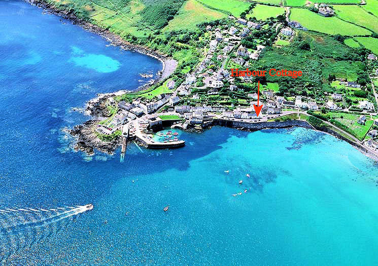 Harbour Cottage Coverack Cornwall - from the air
