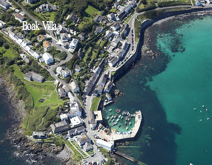 Boak Villa Cottage Coverack Cornwall from the air