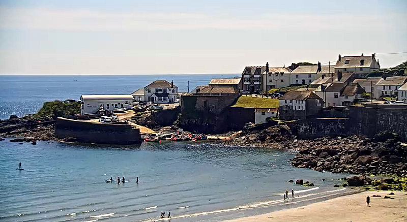 Coverack Harbour - beach and cottages