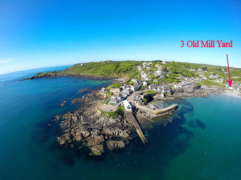 3 Old Mill Yard Coverack Cornwall - from the air - Cornwall Cottages