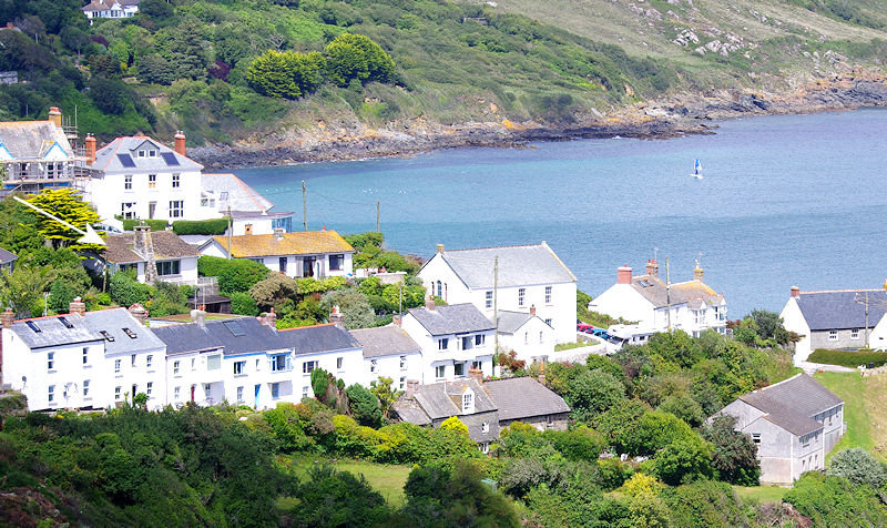 Pindos Coverack Cornwall - views across the village to the sea
