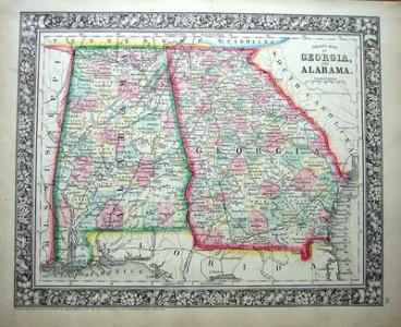 USA GEORGIA   ALABAMA Antique County Map 1860 GEORGIA   ALABAMA Antique County Map 1860