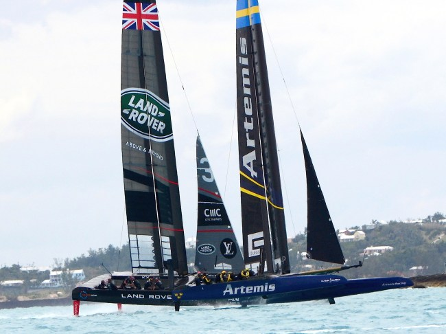 Land Rover BAR v. Artemis in America's Cup Practice Racing on Bermuda's Great Sound - 32417 photo by Talbot Wilson- Royal Gazette