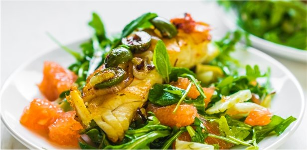 Pan-Seared Tilapia with Arugula & Grapefruit Salad