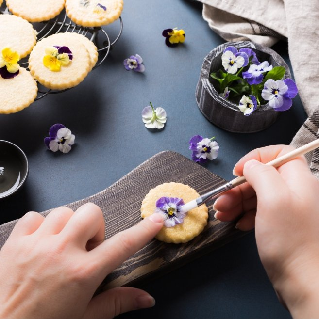 Pansy Shortbread Cookies for Spring